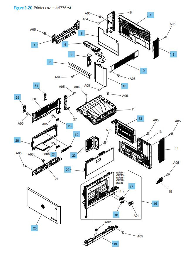 20. HP M776dn Printer Covers and panels printer parts diagram