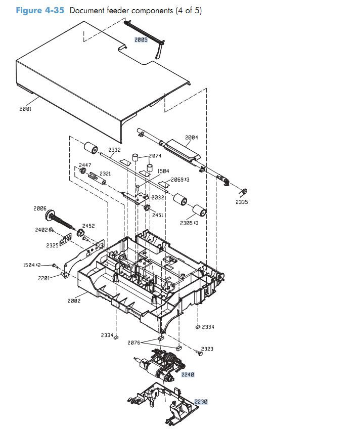 29. HP M4555 Document feeder components 4 of 5 printer parts diagram
