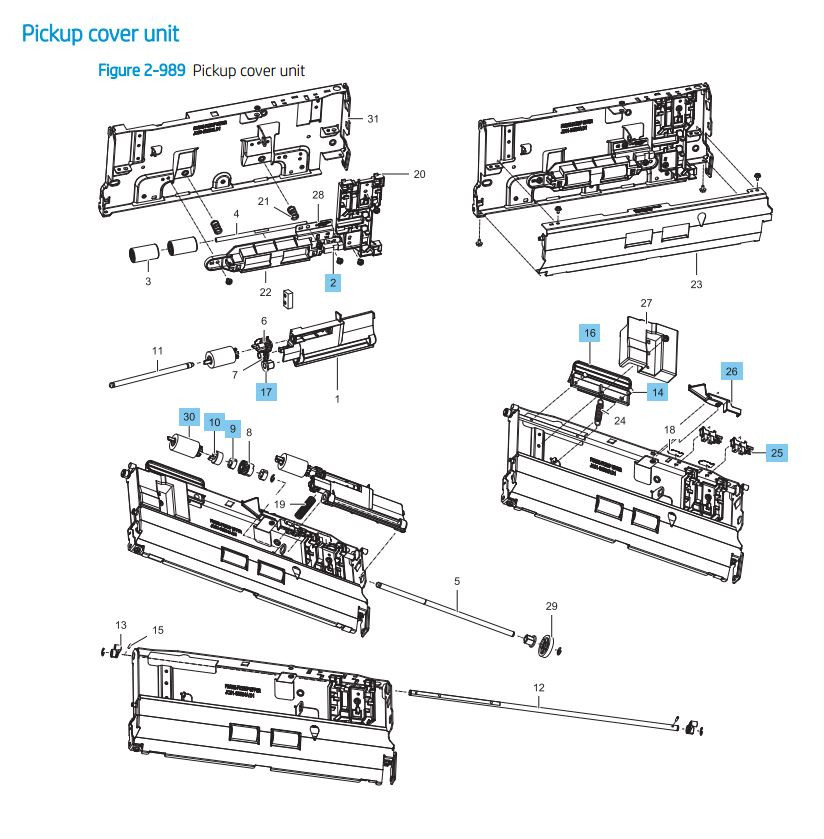 42. HP LaserJet E82540 E82550 E82560 Pickup cover unit Printer Parts Diagram