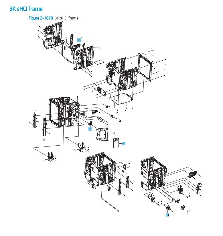 42. HP E87640 E87650 E87660 3000 sheet Cassette Feeder Frame Paper Tray Printer Part Diagrams