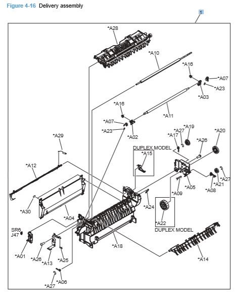 16) HP CP4025 CP4525 Secondary Transfer Assembly Printer Diagram