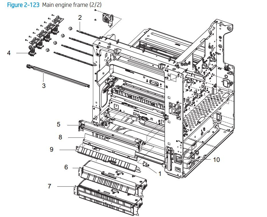 9. HP E77422 E77428 Main engine frame 2 of 2 assembly printer parts diagram