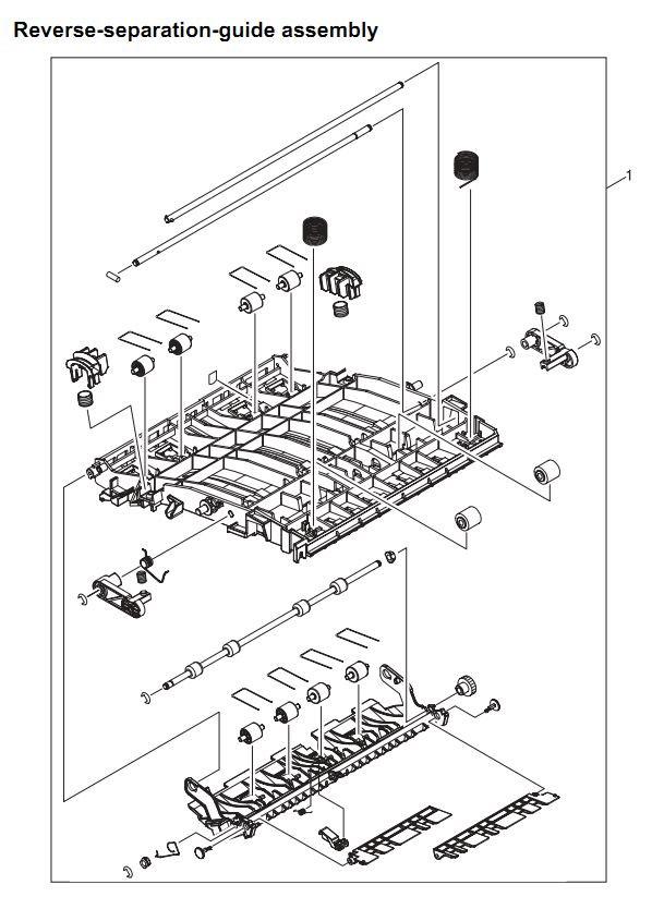 22. HP 4345 Q3942A 4345x Q3943A 4345xs Q3944A 4345xm Q3945A Reverse separation guide assembly Printer Part Diagrams