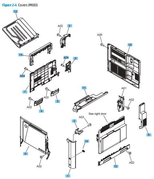 6. HP M680 Covers, Panels and doors printer parts diagram
