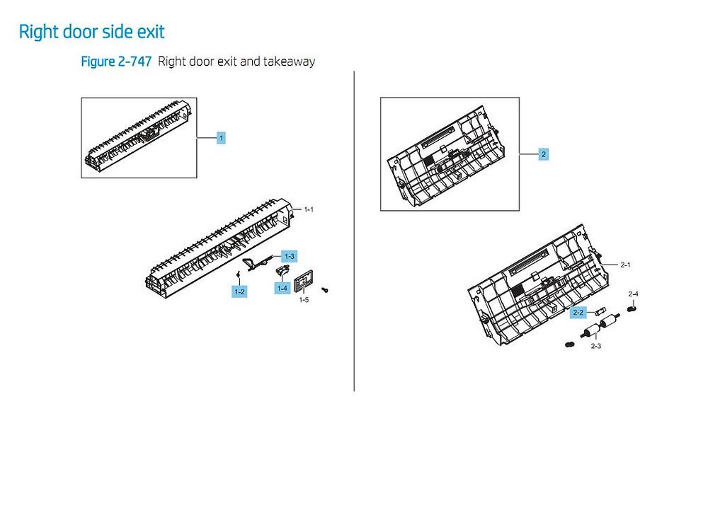 15. HP E87640 E87650 E87660 Right Door Side Exit Printer Part Diagrams