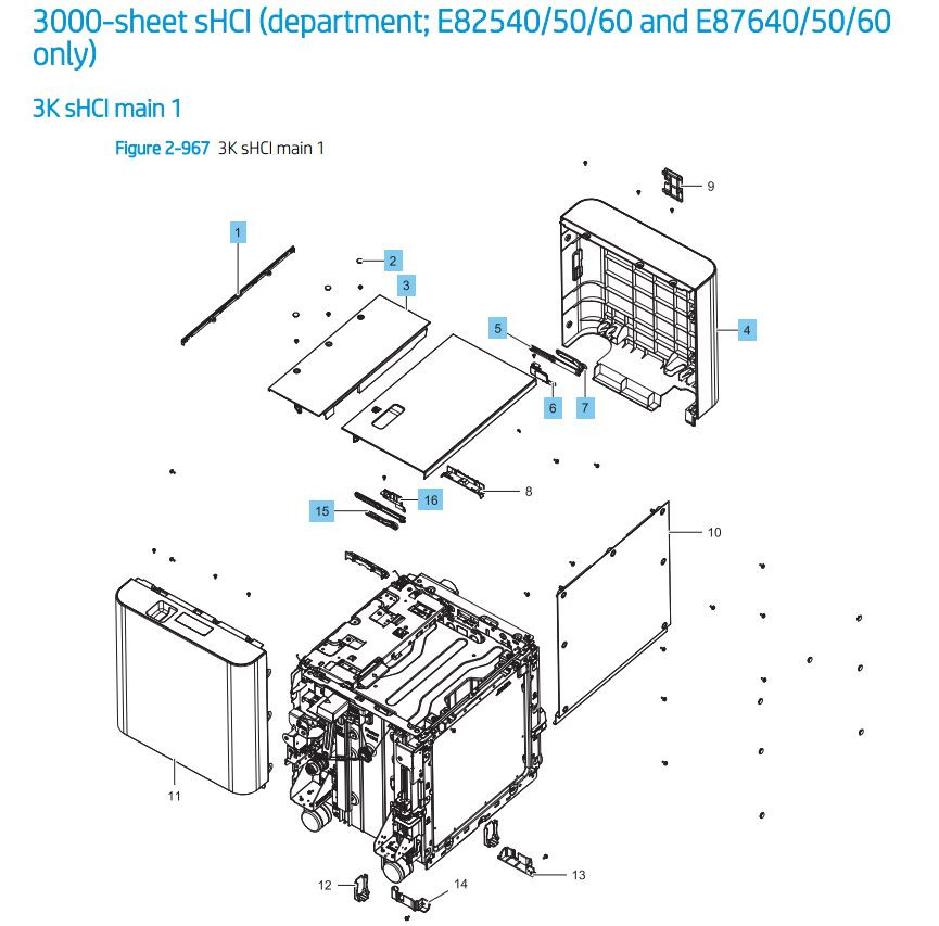 38. HP LaserJet E82540 E82550 E82560 E87640 E87650 E87660 3000 sheet sHCI Printer Parts Diagram
