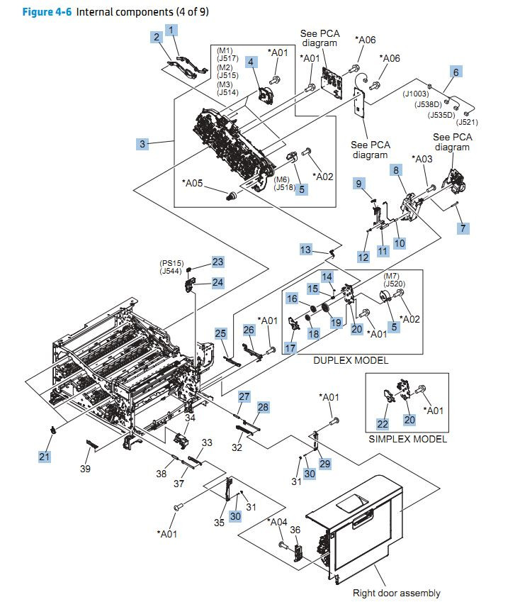 6. HP CP5525n Internal Components 4 of 9 printer parts diagram