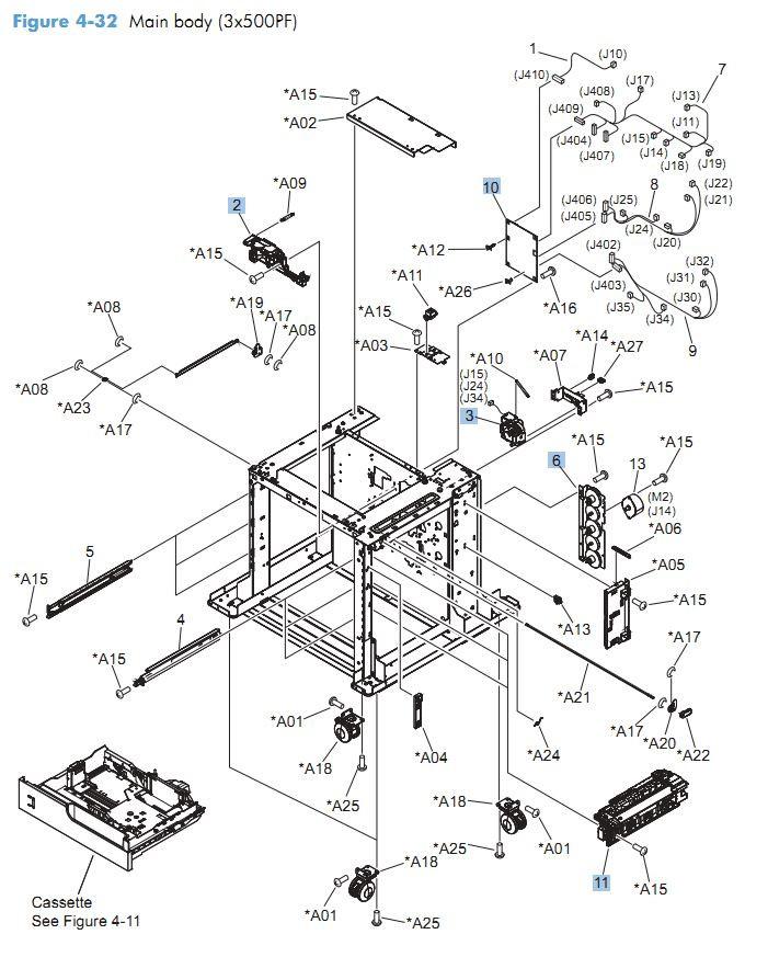 32. HP CM4540 Main body 3 x 500 printer parts diagram printer parts diagram