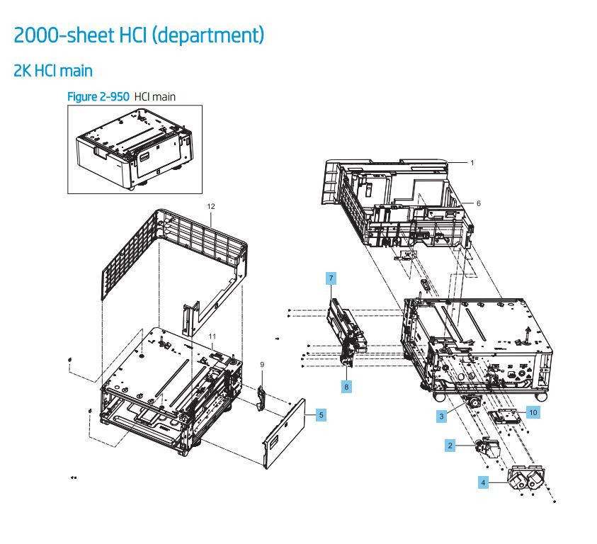 33. HP LaserJet E82540 E82550 E82560 2000 sheet feeder HCI main Printer Parts Diagram
