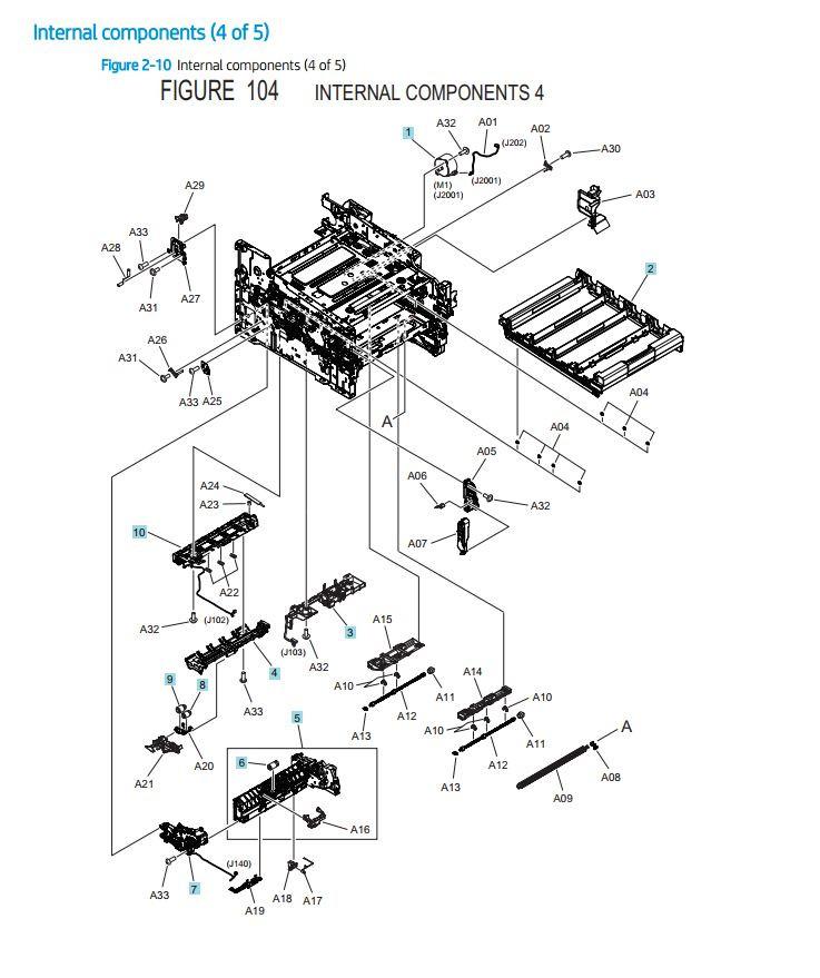 7. HP M454 M479 Internal Assemblies 4 of 5 printer parts diagram