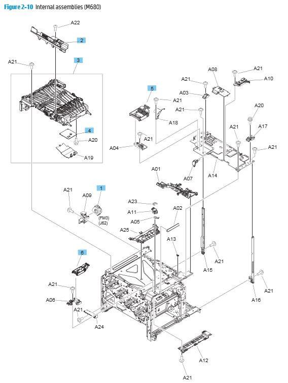 10. HP M680 Internal Assemblies printer parts diagram