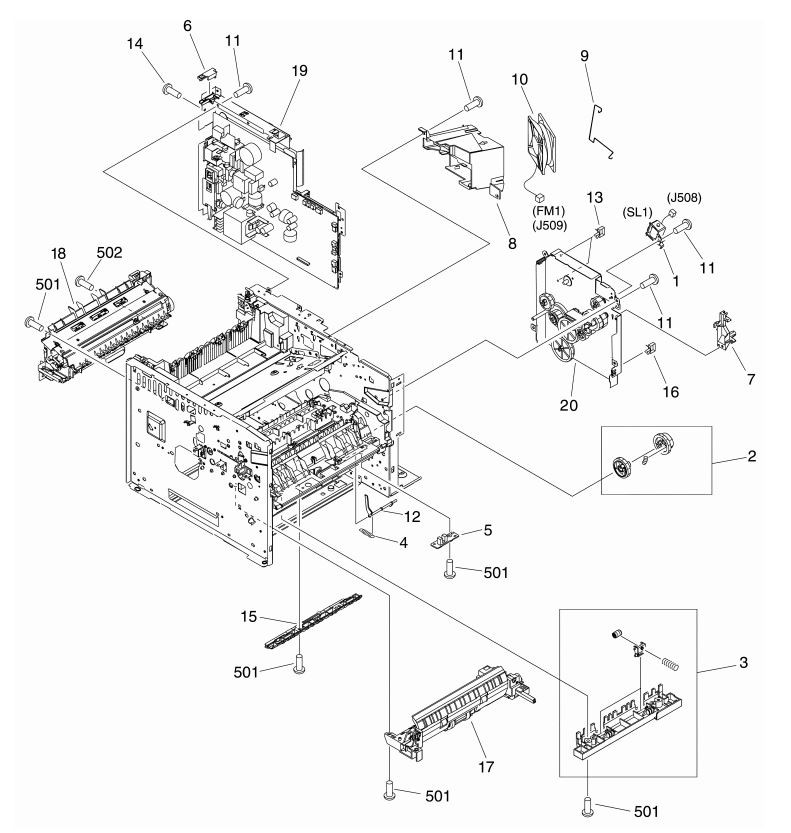 7. HP M3027 M3035 Internal assemblies 4 of 5 printer parts diagram
