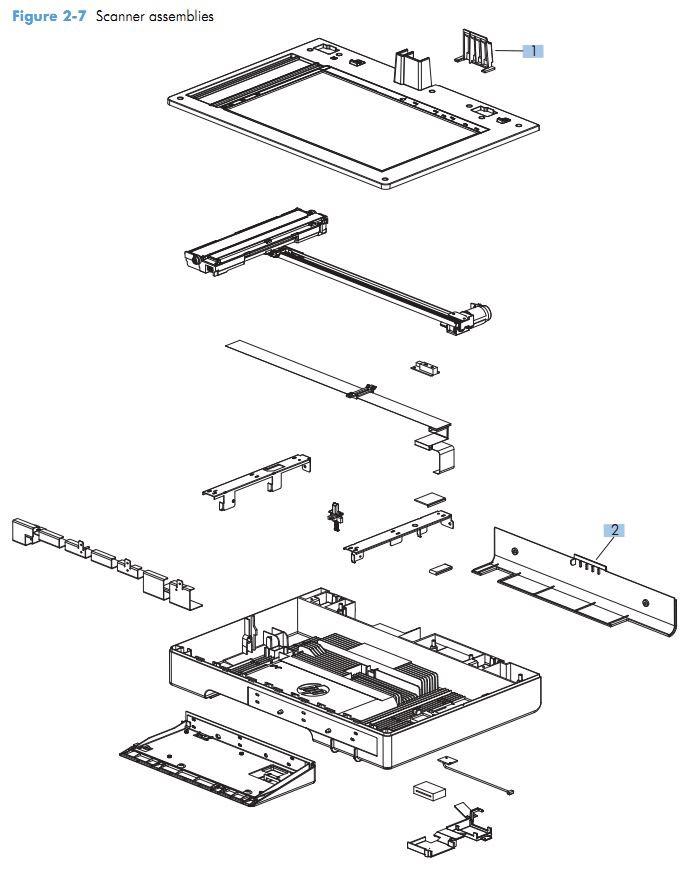 5. HP M575 Scanner assemblies printer parts diagram