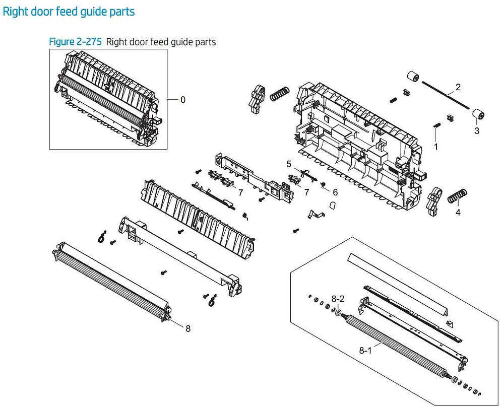 25. HP E77422 E77428 Right door feed guide printer parts diagram