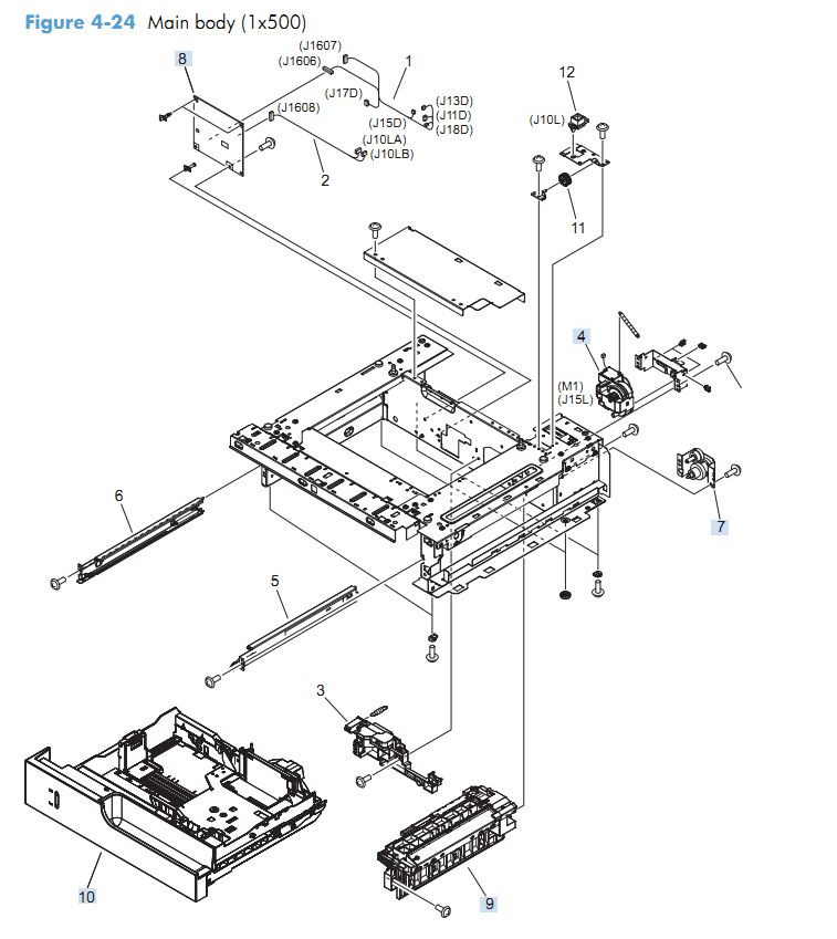 19. HP M4555 Main body paper feeder 1 x 500 sheet  assembly printer parts diagram