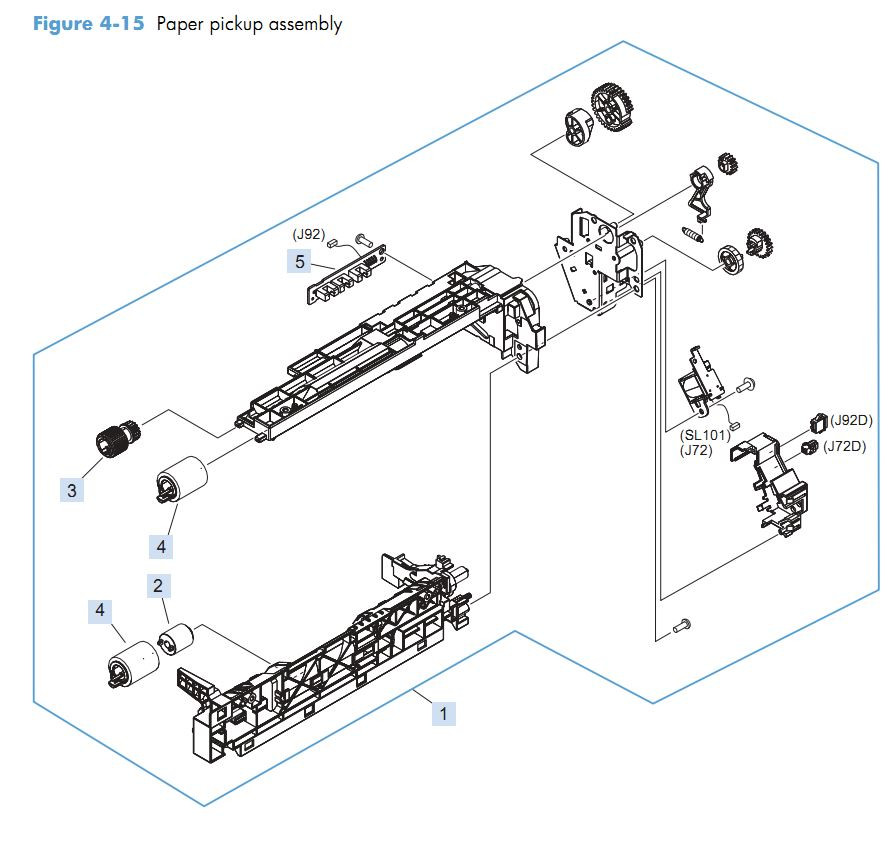 10. HP M4555 Paper pickup assembly printer parts diagram