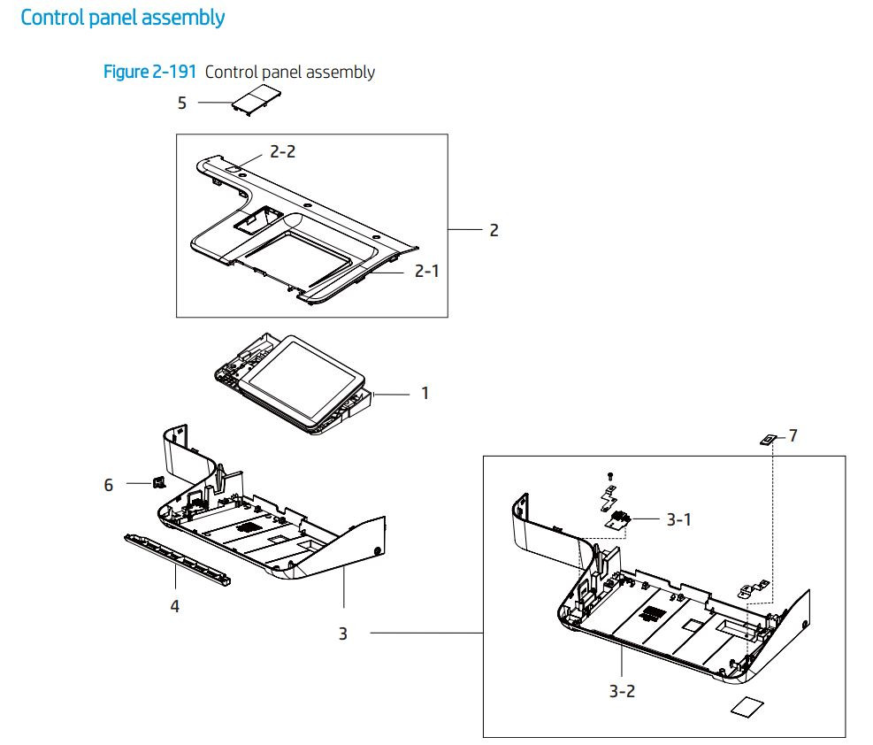 13. HP E72425 E72430 Control panel assembly printer parts diagram