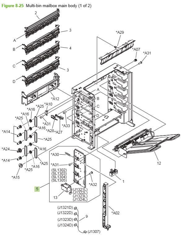 21) HP P4014 P4015 P4515 Multi bin mailbox main body 1 of 2 printer parts diagram