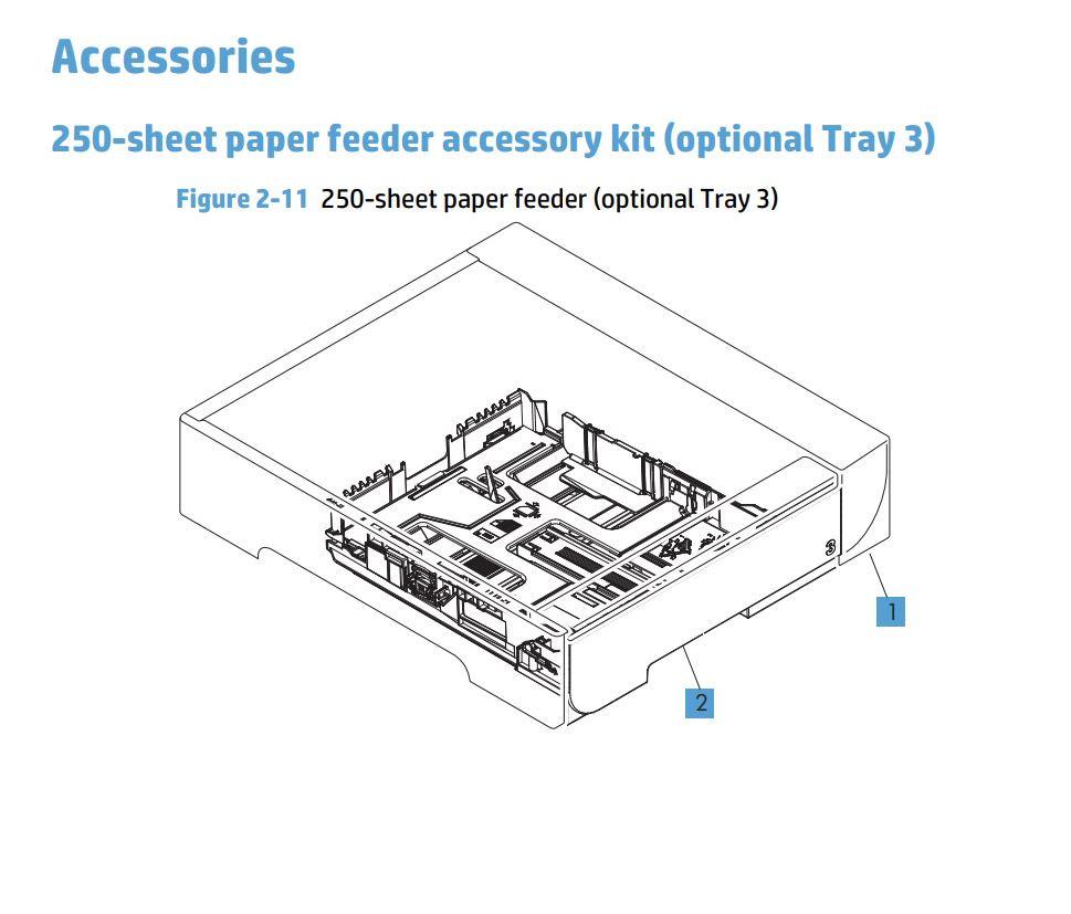 11. HP M476 250 sheet paper feeder tray 3 printer part diagrams