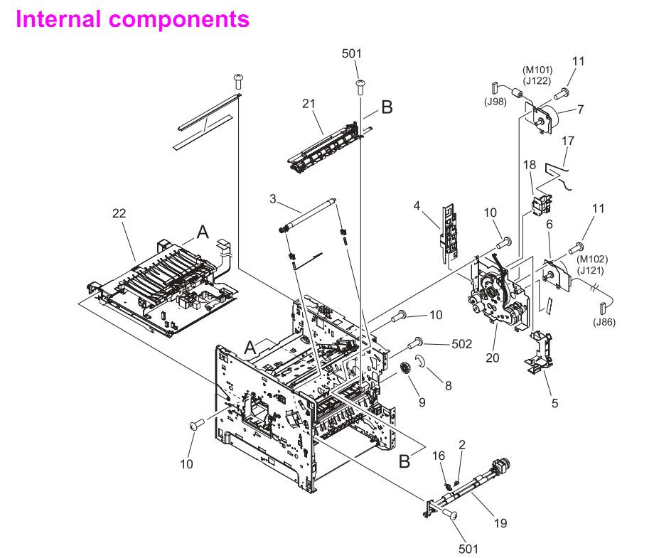 7. HP LaserJet 4250 4250n 4250tn 4250dtn 4250dtnsl Internal components 1 of 4 Printer Parts Diagrams