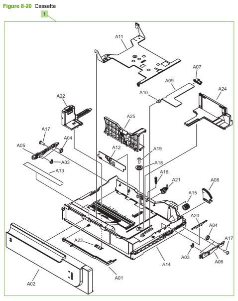 19) HP CP3525 Paper feeder cassette assembly printer parts diagram