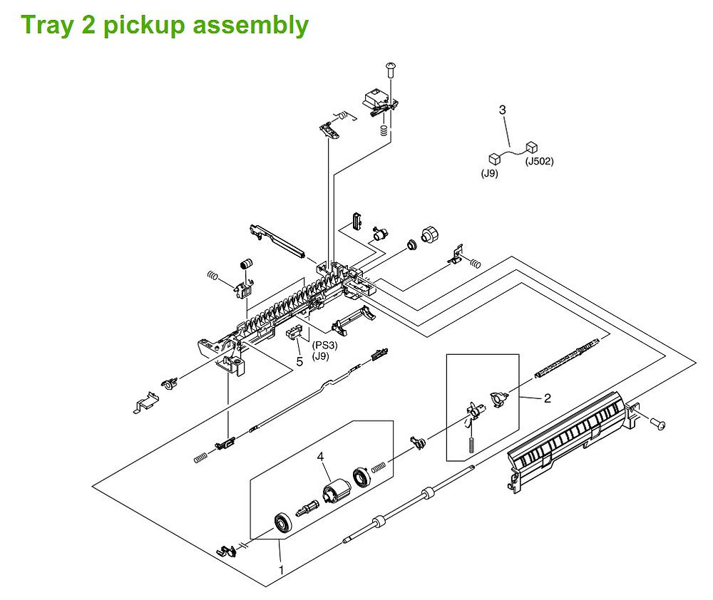 7. HP M3027 M3035 Tray 2 pickup assembly printer parts diagram