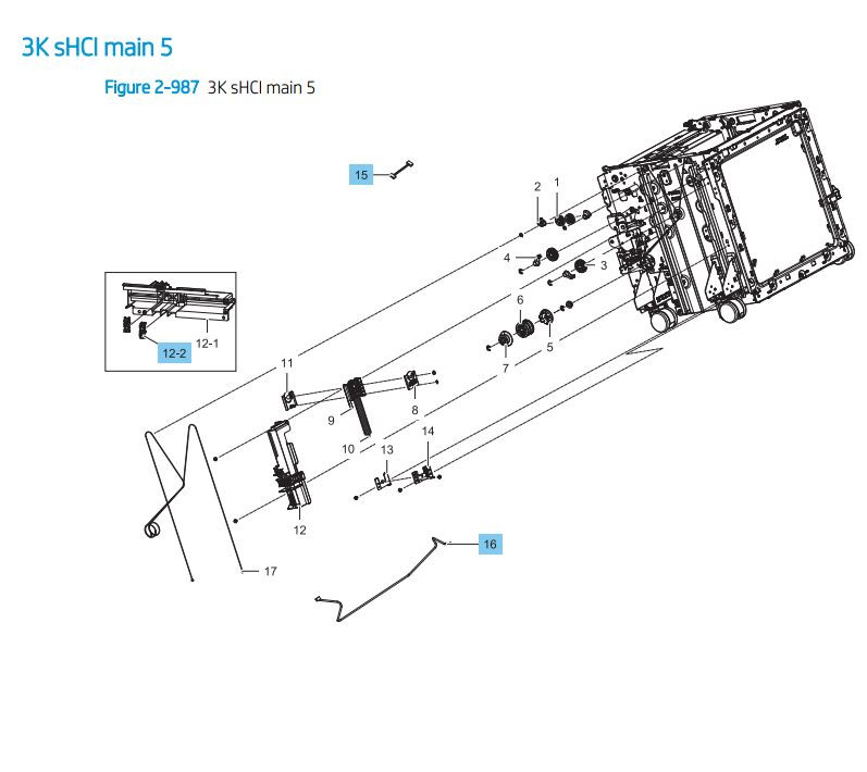 40. HP LaserJet E82540 E82550 E82560 3000 sheet sHCI main 5 Printer Parts Diagram