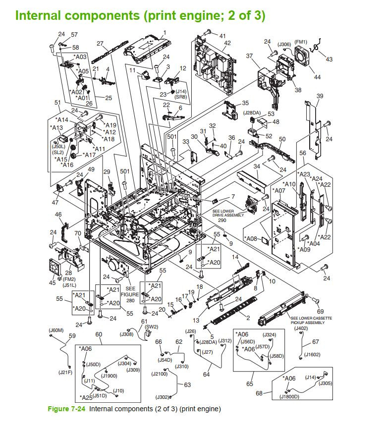 23. HP M5025 M5035 Internal component 2 of 3 printer part diagrams