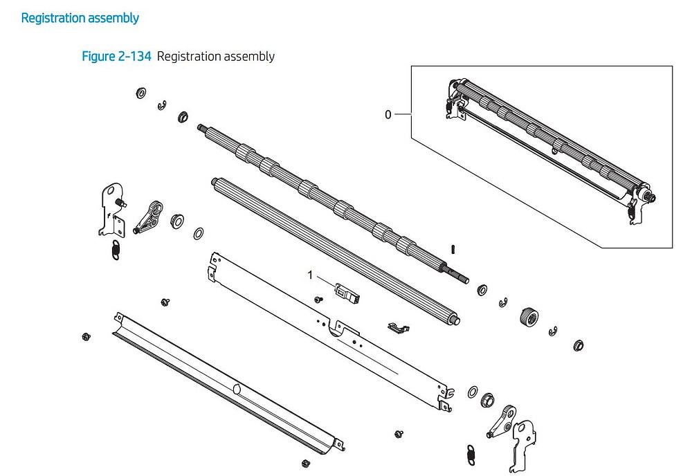 10. HP E77422 E77428 Registration assembly printer parts diagram