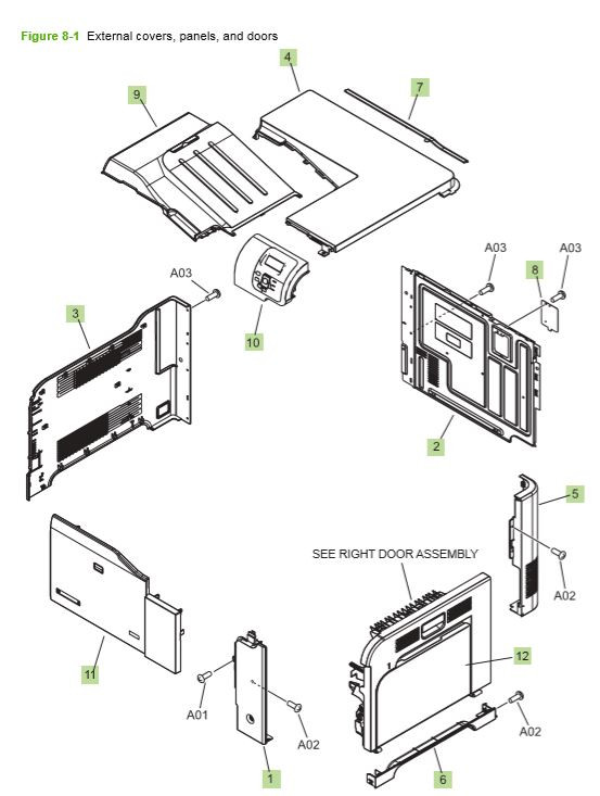 1) HP CP3525 External covers, panels and doors printer parts  diagram