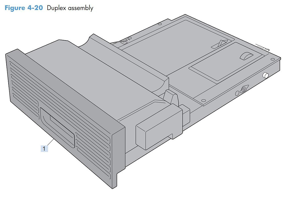 15. HP M4555 Duplex assembly printer parts diagram