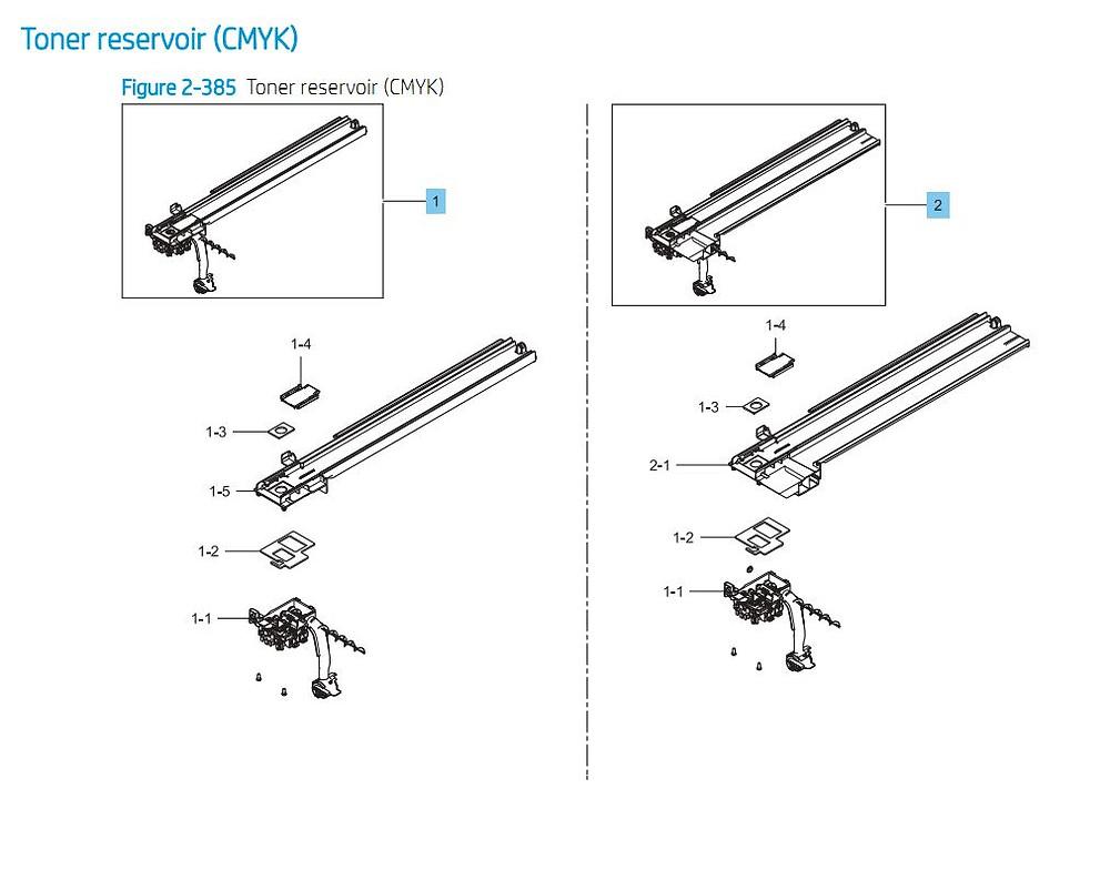 6. HP E87640 E87650 E87660 Toner Reservoir  Assembly Printer Part Diagrams