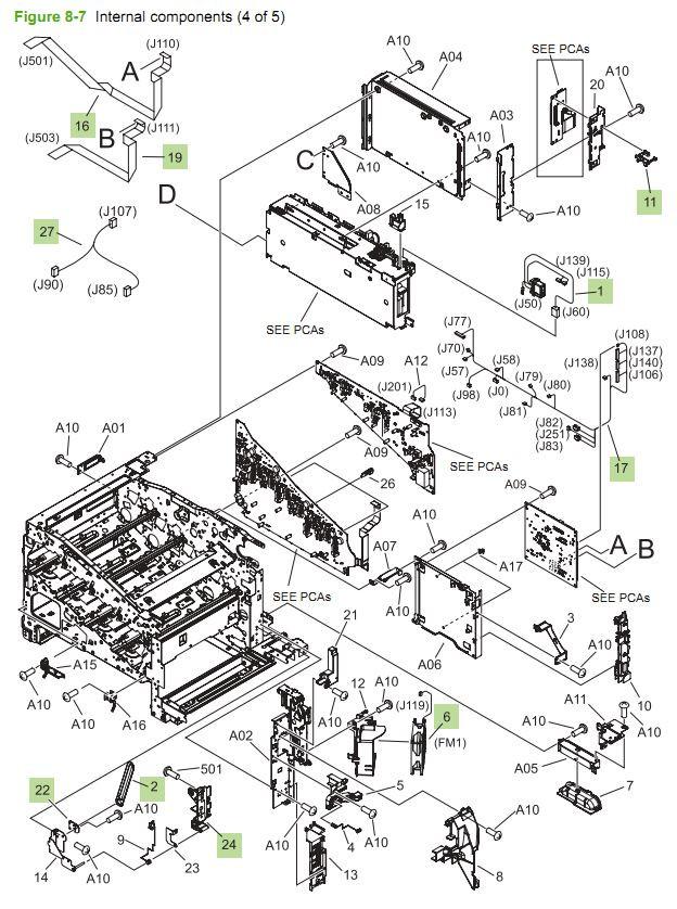 7. HP CM3530 Internal Components 4 of 5 printer parts diagram
