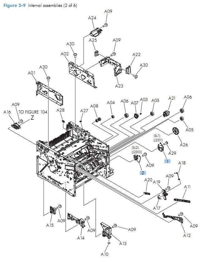 7. HP M525 Internal assemblies 2 of 6 printer parts diagram