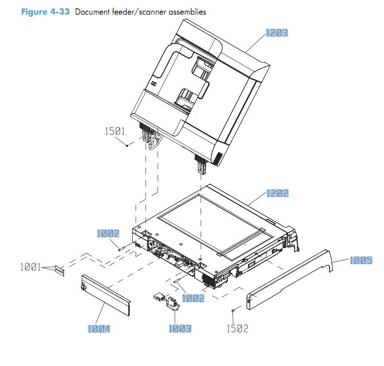 33. HP CM4540 Document feeder and scanner assemblies printer parts diagram