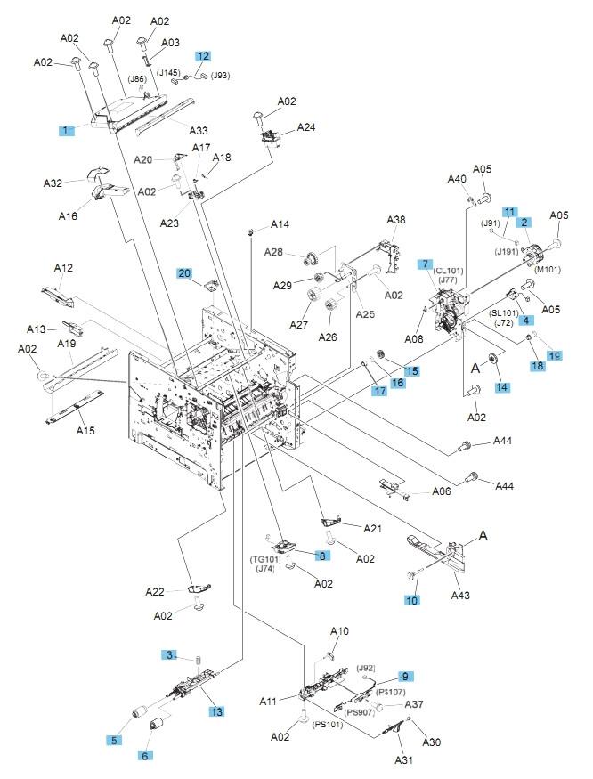 M604 M605 M606 Printers Part Diagram Internal Components, 2 of 3