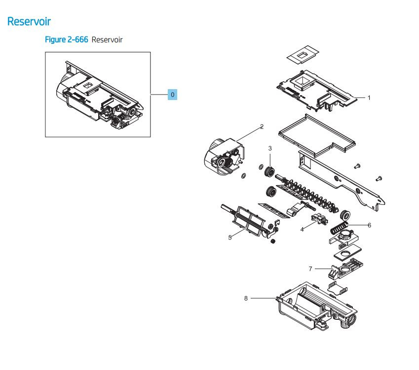 17. HP LaserJet E82540 E82550 E82560 Reservoir 2 Assembly Printer Parts Diagram