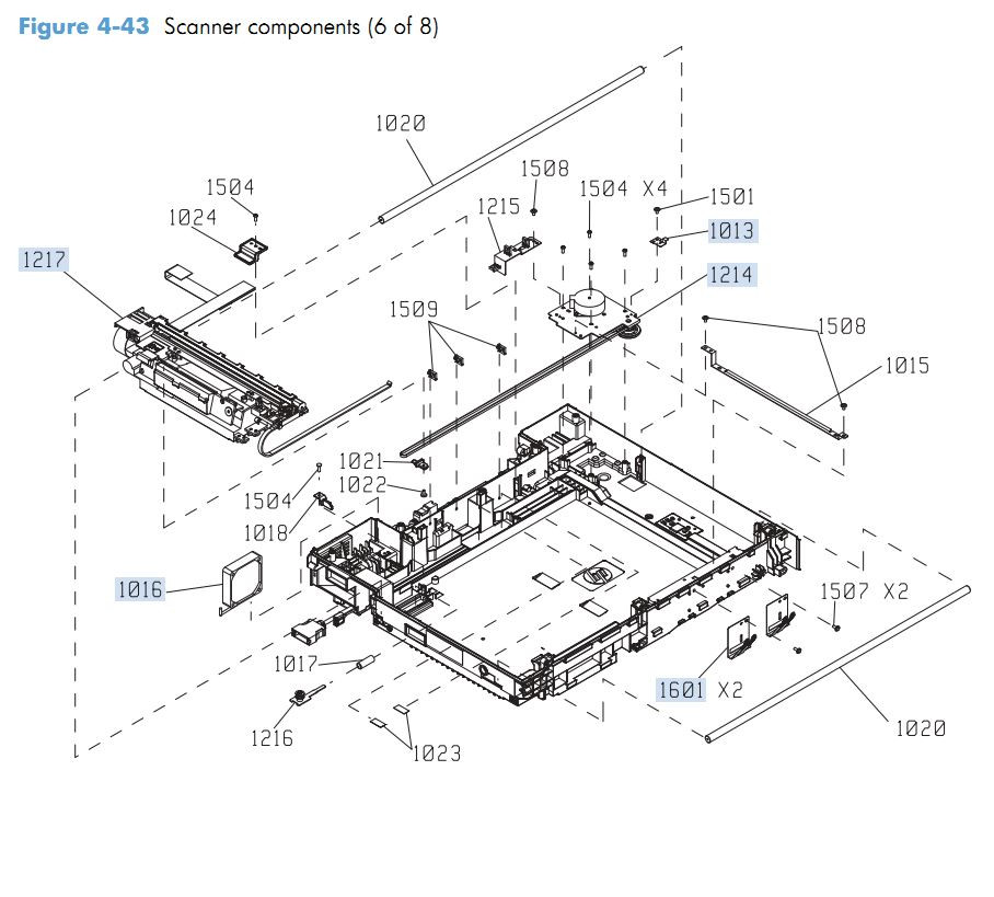 37. HP M4555 Scanner Components 6 of 8 printer parts diagram