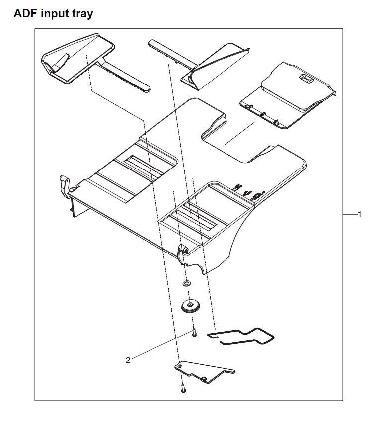 29. HP 4345 Q3942A 4345x Q3943A 4345xs Q3944A 4345xm Q3945A ADF input tray Printer Part Diagrams