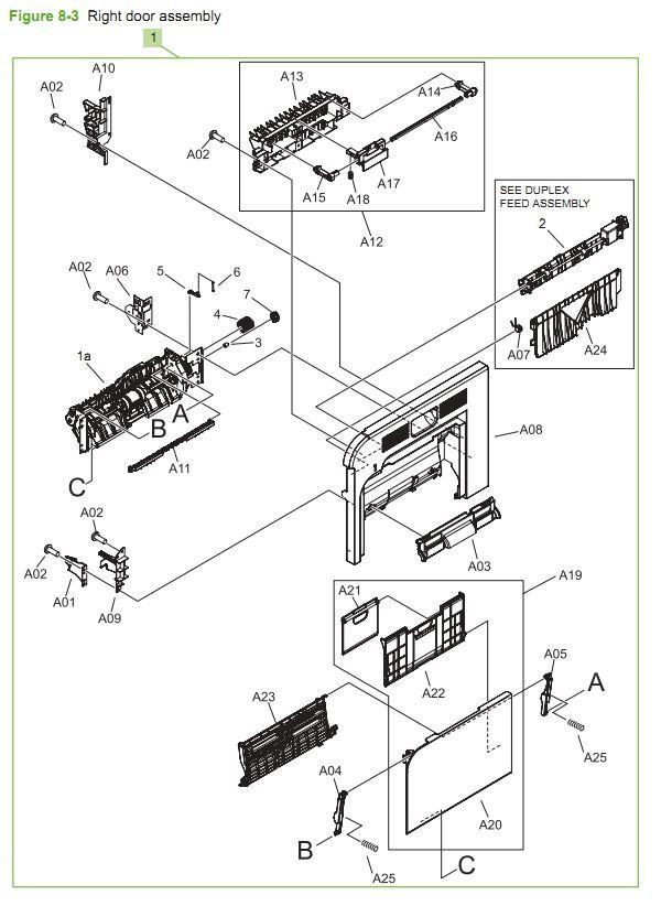 3. HP CM3530 Right door assembly printer parts diagram