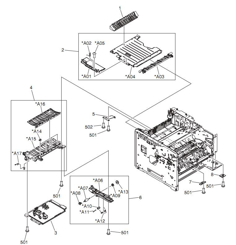 5. HP LaserJet P3005 Internal components 4 of 6 Printer Parts Diagrams