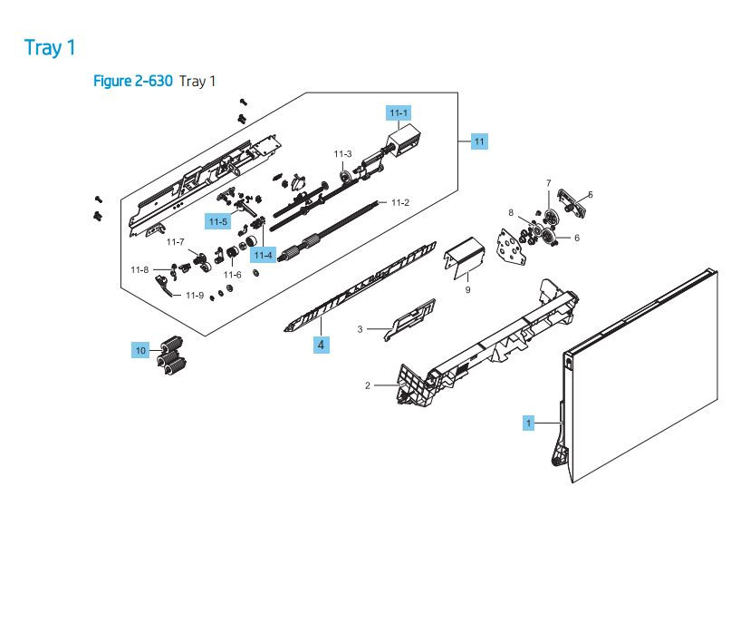 12. HP LaserJet E82540 E82550 E82560 Tray 1 Assembly Printer Parts Diagram