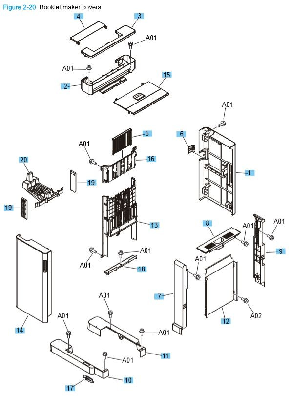 14) HP M806 M830 Booklet maker covers printer parts diagram