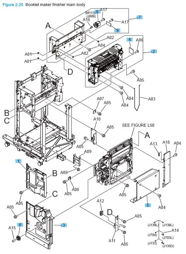 19) HP M806 M830 Booklet maker finisher main body printer parts diagram