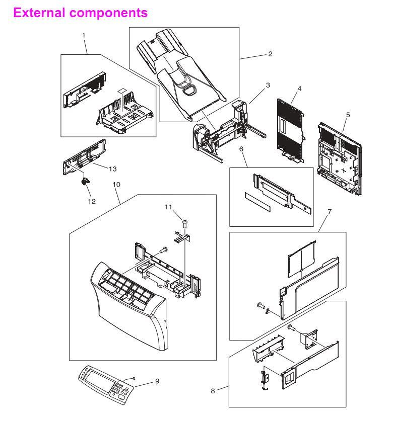 HP 4345 Q3942A 4345x Q3943A 4345xs Q3944A 4345xm Q3945A External Covers, Panels and doors Printer Part Diagrams