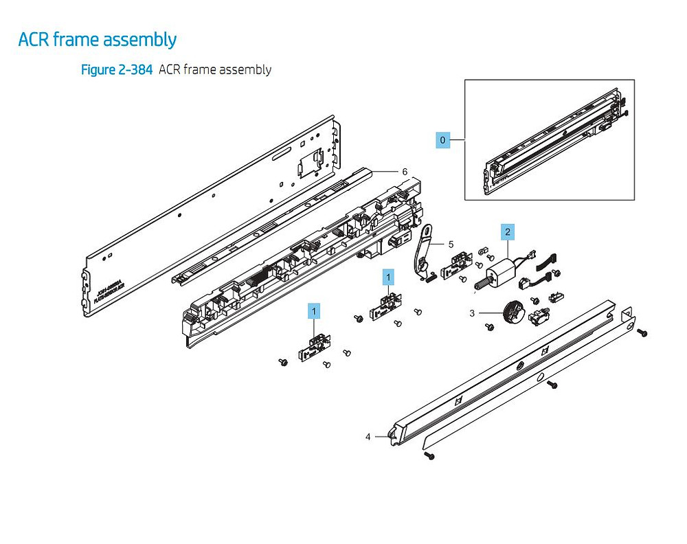 5. HP E87640 E87650 E87660 ACR Frame Assembly Printer Part Diagrams