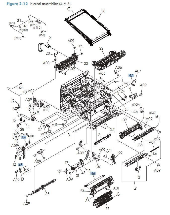 10. HP M575 Internal Components 4 of 6 printer parts diagram