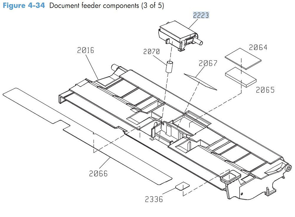 28. HP M4555 Document feeder components 3 of 5 printer parts diagram