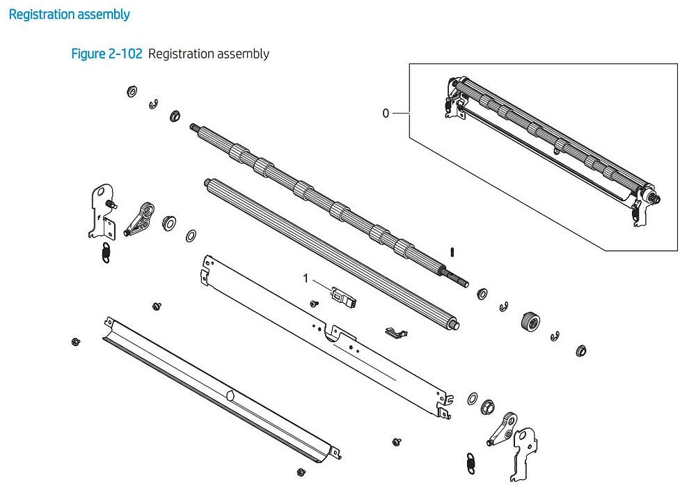 6. HP E72425 E72430 Registration assembly printer parts diagram