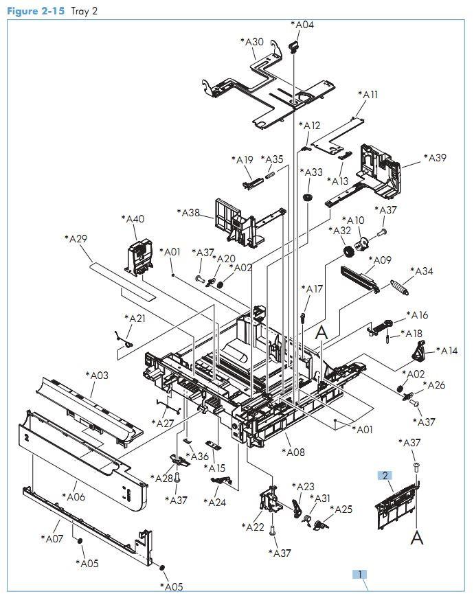 13. HP M575 Tray 2 printer parts diagram